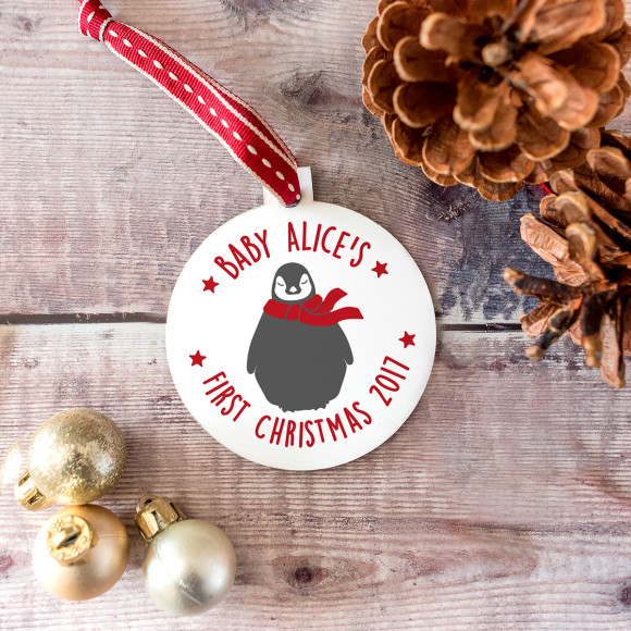 'First Christmas' Baby Penguin Bauble