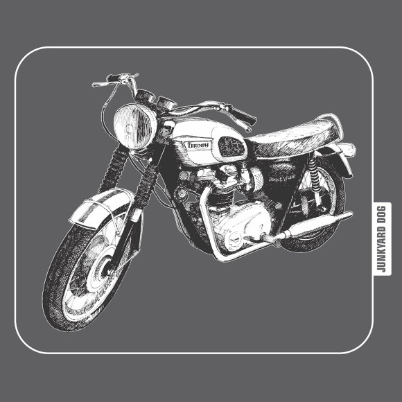 closeup of Triumph graphic on charcoal tee