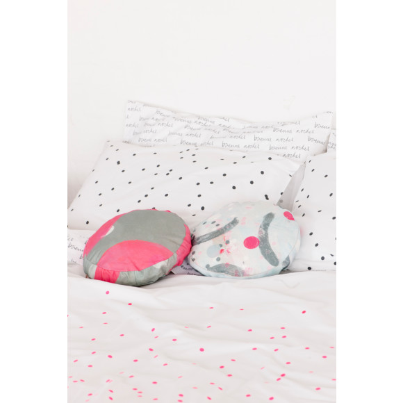 Fluro Pink on white organic cotton with charcoal sprinkle pillowcases