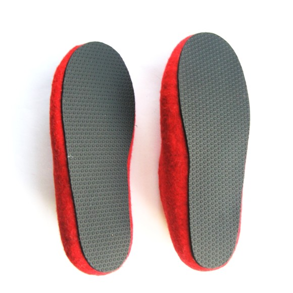 Black Sole Felted Wool Shoes Red Grey. Women