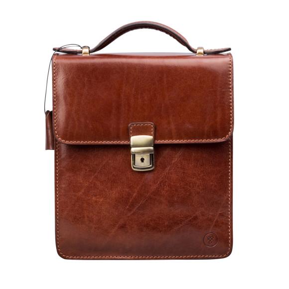 Tan leather mens shoulder bag
