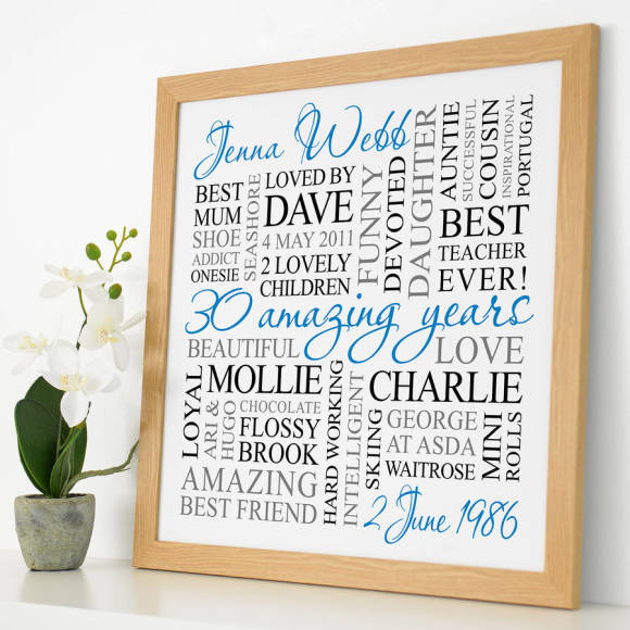 wooden frame - white with blue, black & grey text