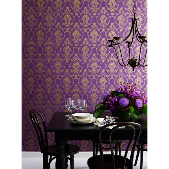 Flannel Flower Damask in Gold on Purple