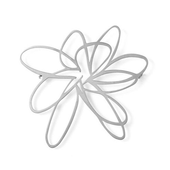 Flower Brooch-Raw Stainless Steel