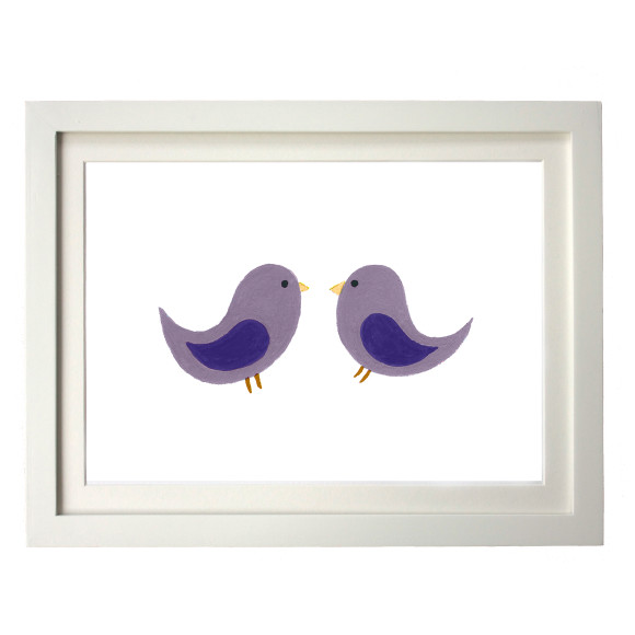 Twin purple birds white frame
