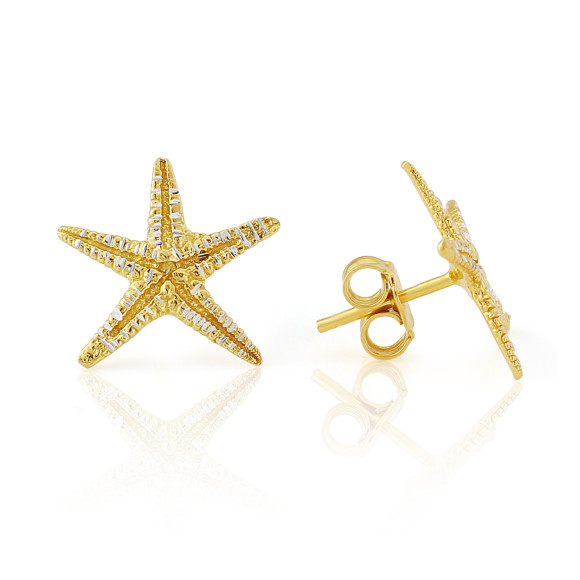 Aegina Gold Vermeil Diamond Cut Starfish Earrings