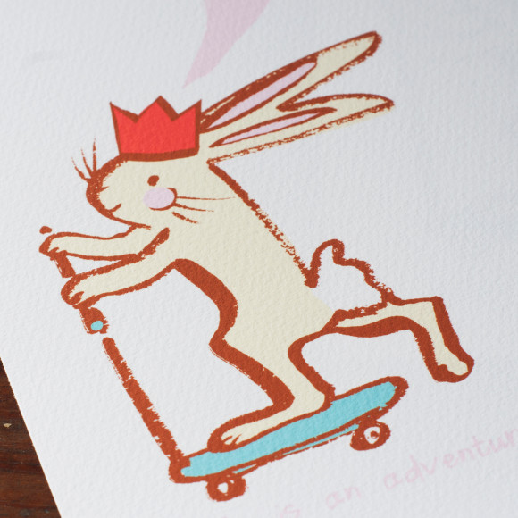 Close up of the scooting bunny on the print