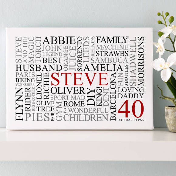 A3 white canvas with red, black & grey text