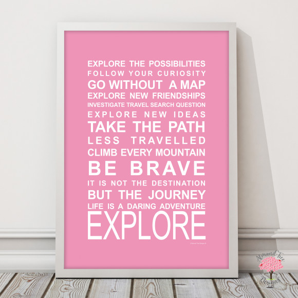 Expressions on the move explore print in Pink, with optional Australian-made white timber frame