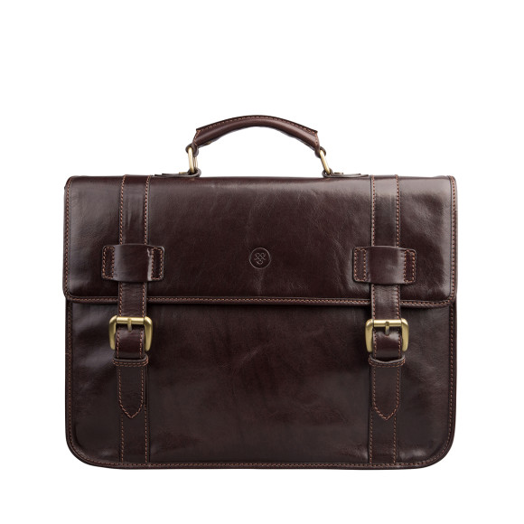 The Micheli Briefcase in Dark Brown