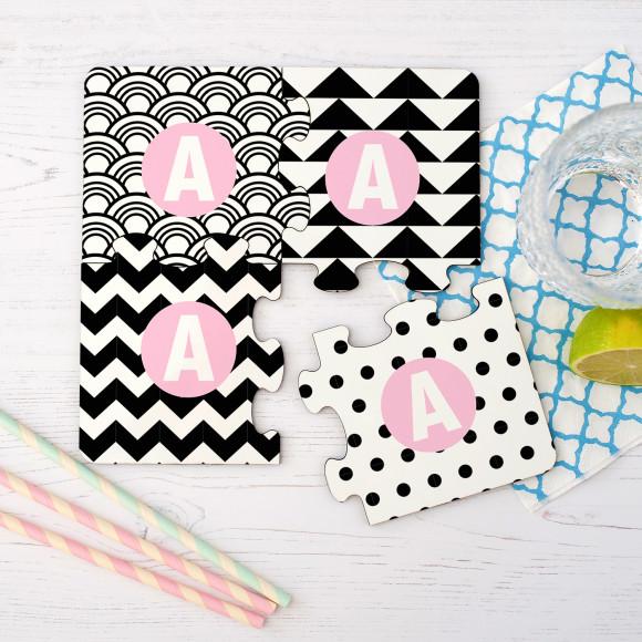 Monochrome Jigsaw Coasters Pink