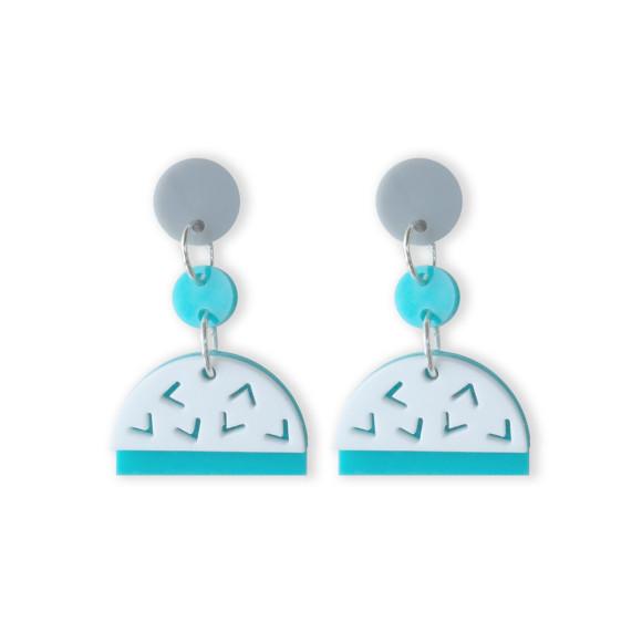 Confetti drop earrings in aqua, white, glitter