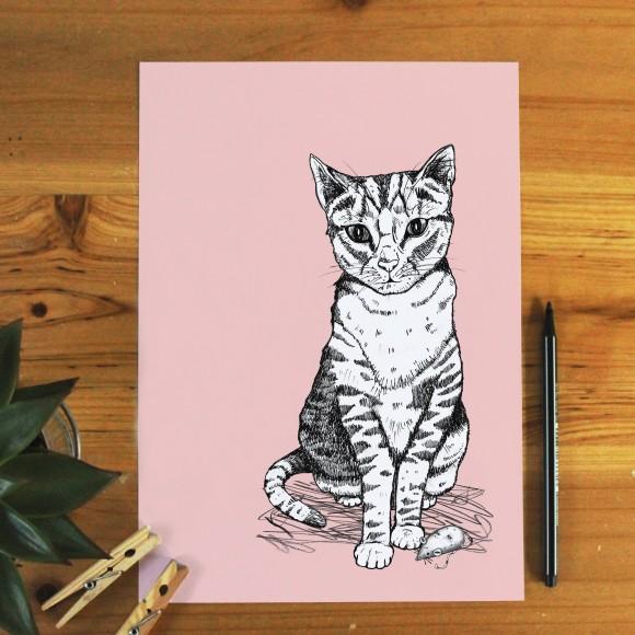 Tally Tabby Cat Print Unframed