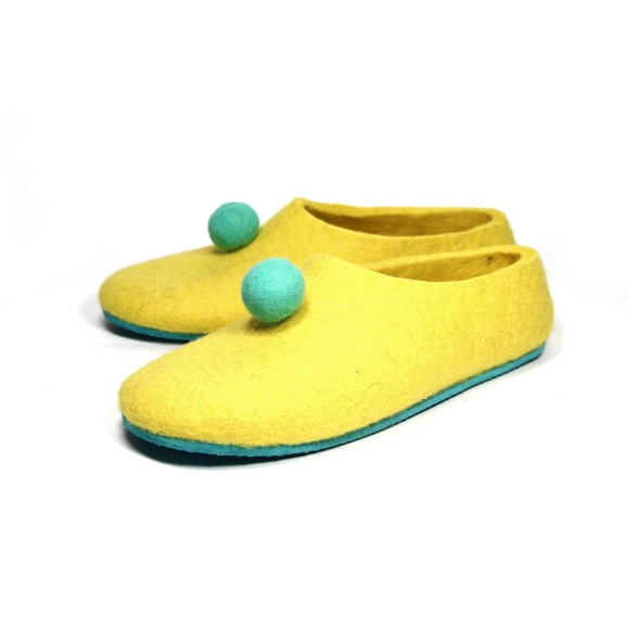 Mens Wool Slippers in Yellow Aqua Pom Pom
