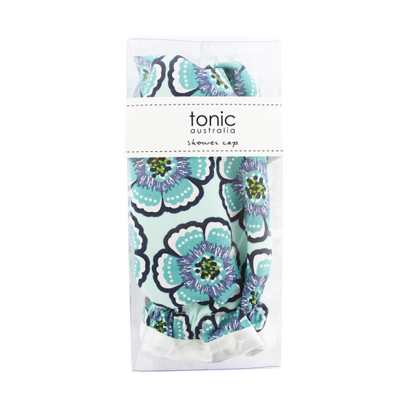 Flora Sea Green Shower Cap