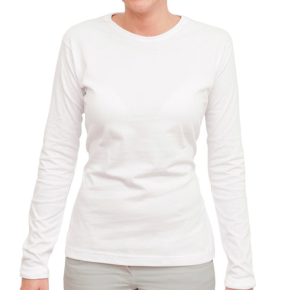 Women's White Long Sleeved Tee