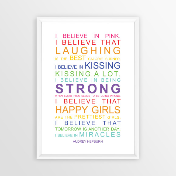 I Believe in Miracles Print in Rainbow, with optional white timber frame