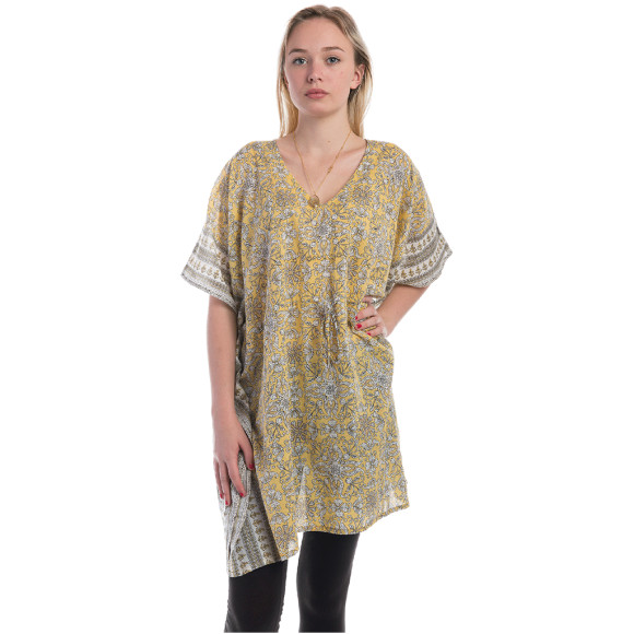 Yellow cotton kaftan