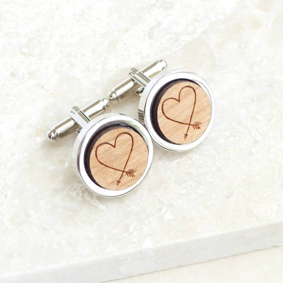 Personalised Heart Arrow Cufflinks