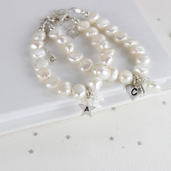 pearl christening bracelet with rock crystal for April birthdays