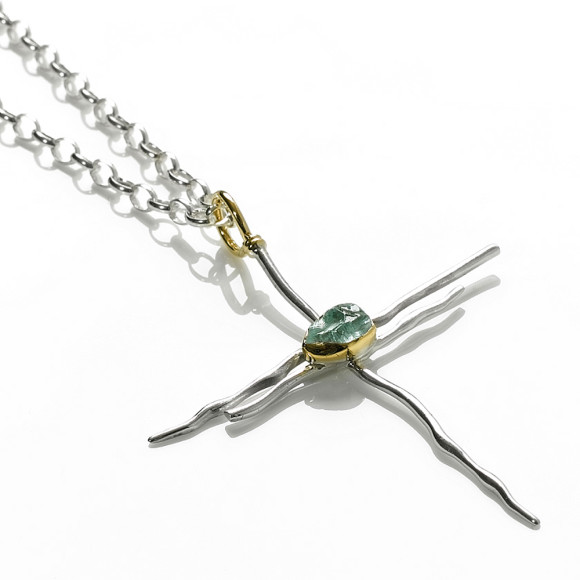Silver, Aquamarine & 18ct Gold Dragonfly Cross