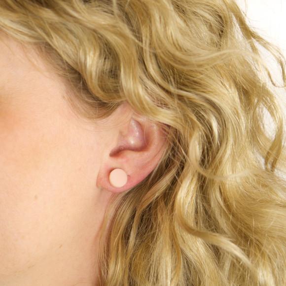 GEO - Circle Earring Studs in Blush Pink