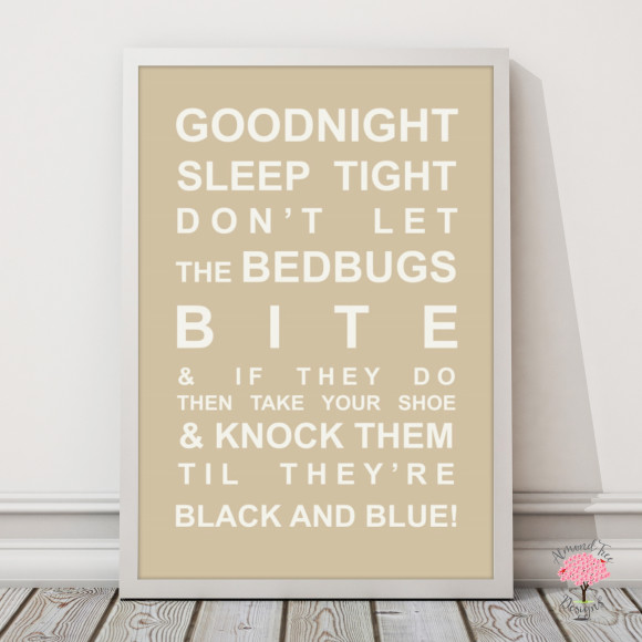 Goodnight Sleep Tight Print in Latte, with optional Australian-made white timber frame