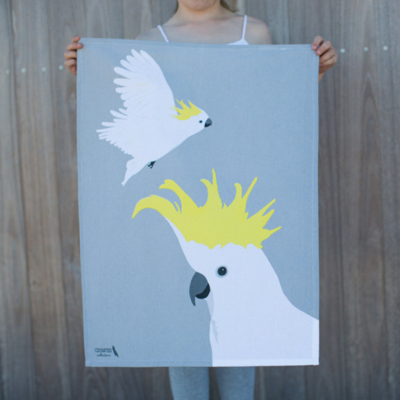 Sulphur-crested cockatoo tea towel