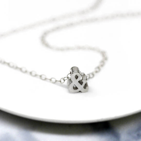 silver ampersand necklace