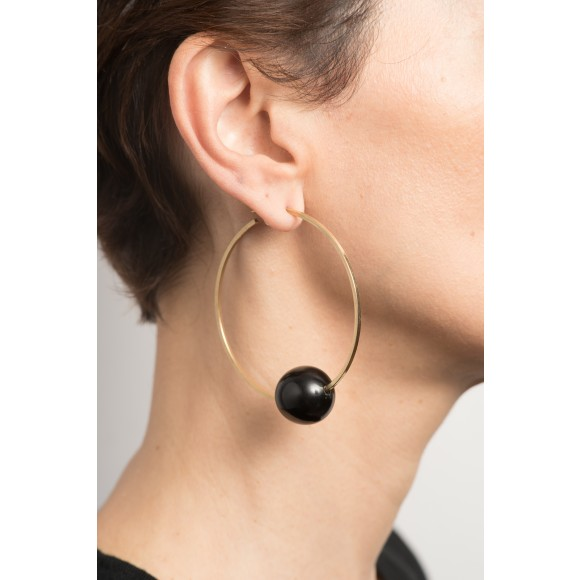 Hissia Alicia horn and gold hoop earrings