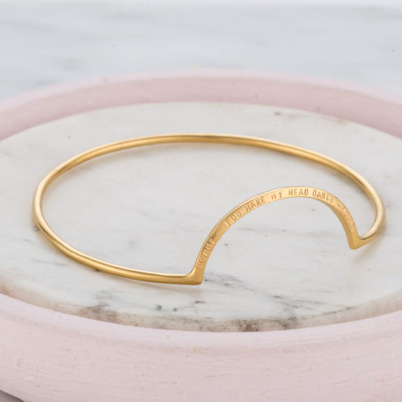 Personalised Eclipse Bangle in yellow gold plate