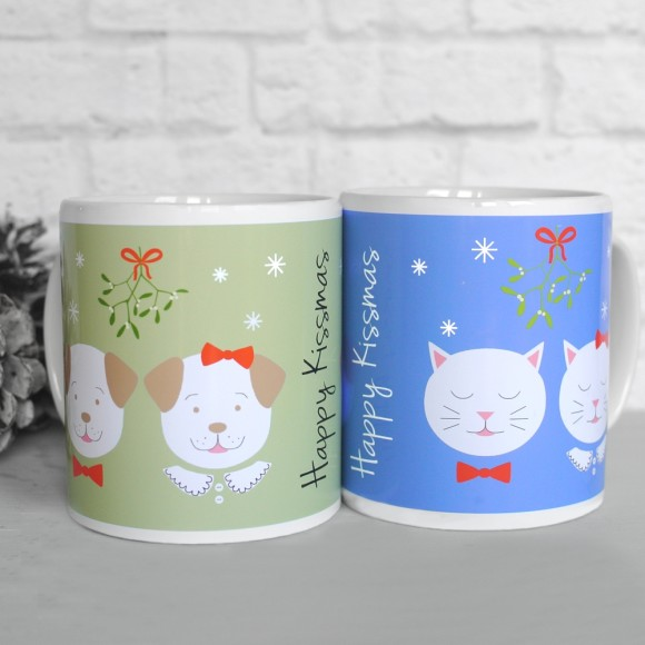 Fido and Frida Happy Kissmas mugs, pistachio green and blue