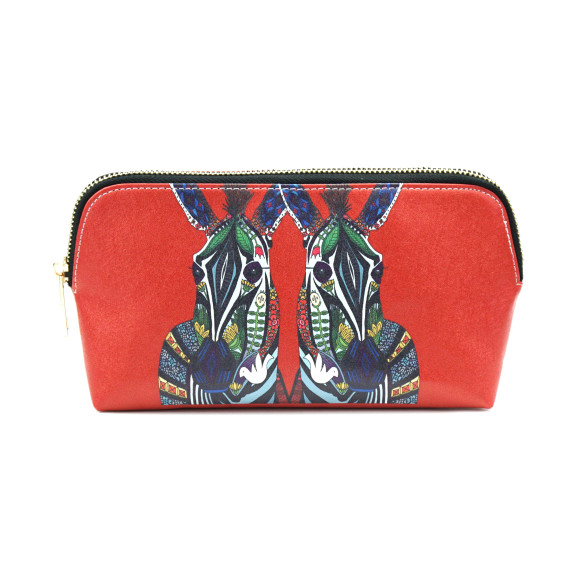 Zebra Love Red Vegan Leather Make Up & Cosmetic Bag