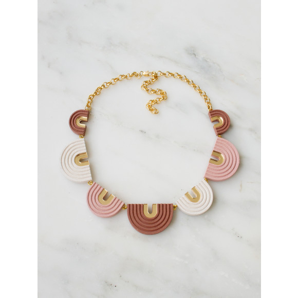 Arches Collar Necklace - Pale Pink