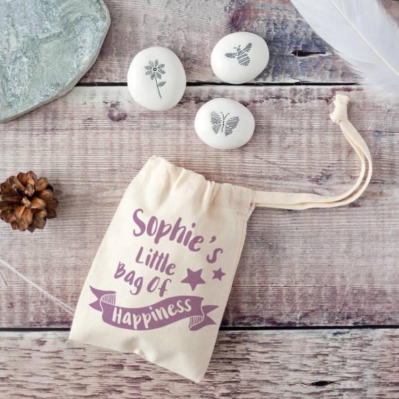 mauve bag showing front of pebbles