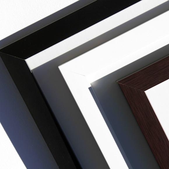 Frames: black, white, mocha (L to R)