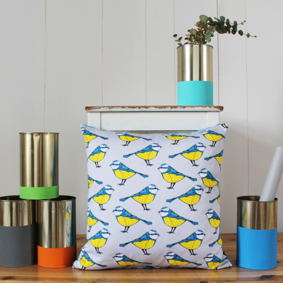 Bold Blue Tit Cushion Cover Lifestyle