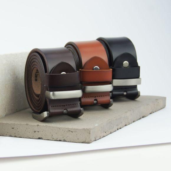 Personalised leather men's belt in dark brown, tan and black
