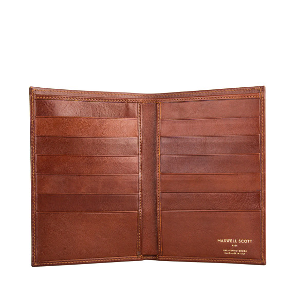 Leather mens breast wallet in chestnut tan