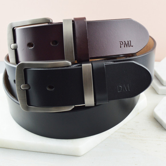 Men's monogrammed leather belt