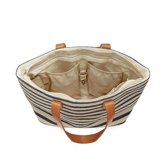 Blue and Natural Stripe Beach Tote