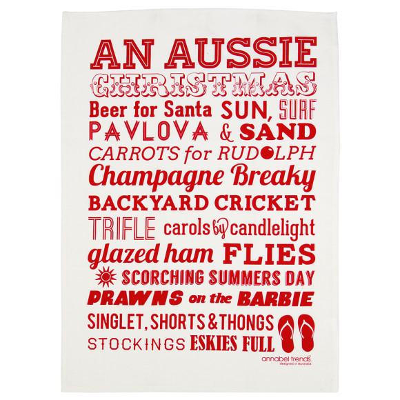 Aussie Christmas tea towel