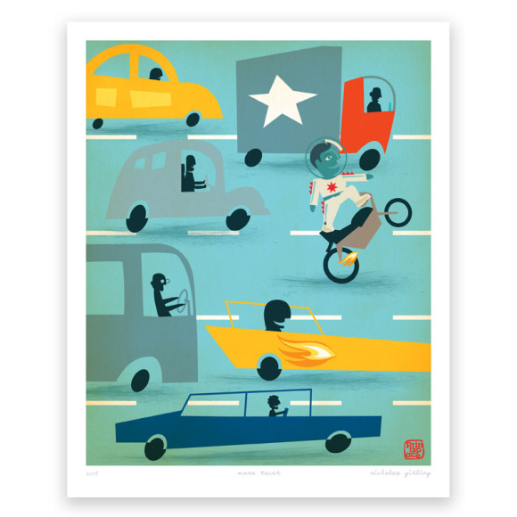 Racer Traffic Art Print