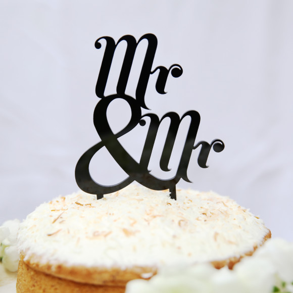 Black Mr & Mr Cake Topper