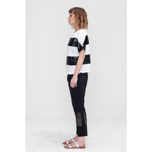 ElegantBlack and White Stripe Top