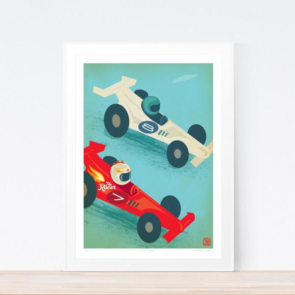 Racer Car Art Print (Framed)