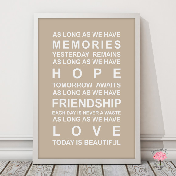 Memories Print in Latte, with optional Australian-made white timber frame