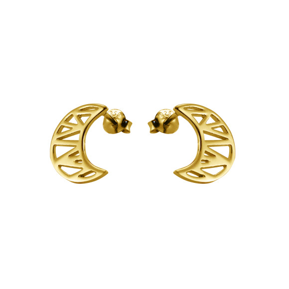cosmic moon stud earrings gold