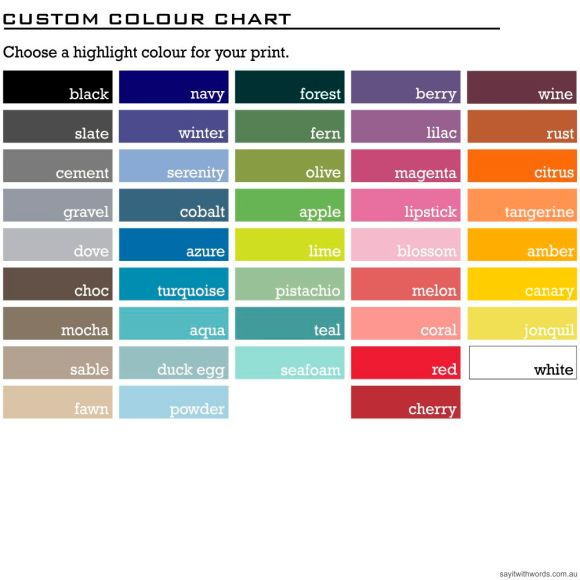 Colours: choose 1