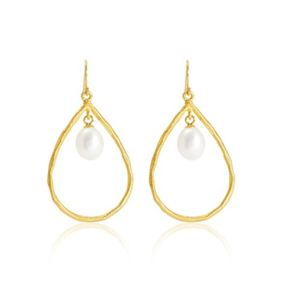 Halo Drop Pearl & Gold Vermeil Earrings